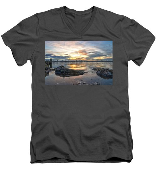 Sunset Over Lake Kralingen  Men's V-Neck T-Shirt