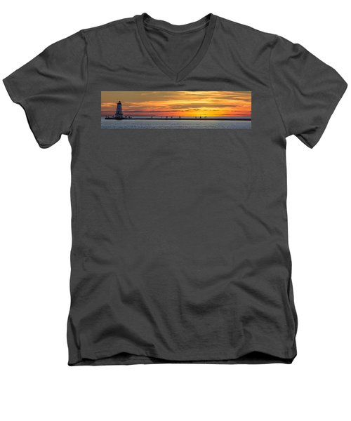 Men's V-Neck T-Shirt featuring the photograph Sunset Over Ludington Panoramic by Adam Romanowicz