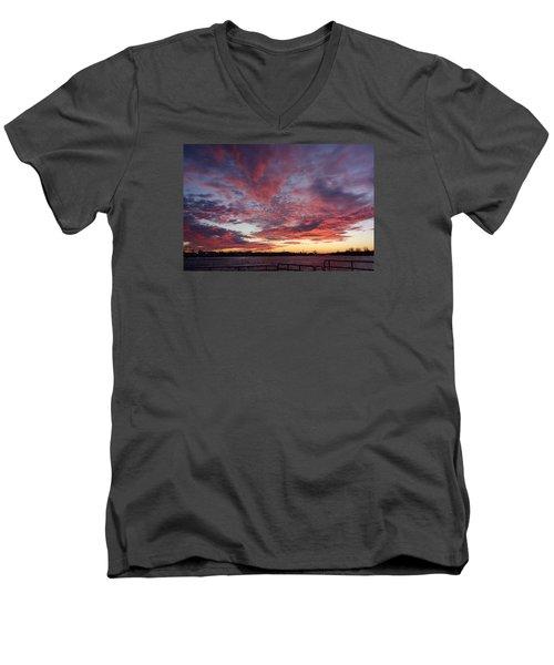 Manasquan Inlet Sunset    Men's V-Neck T-Shirt by Melinda Saminski