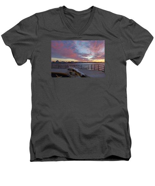 Sunset Over Manasquan Inlet 3 Men's V-Neck T-Shirt by Melinda Saminski