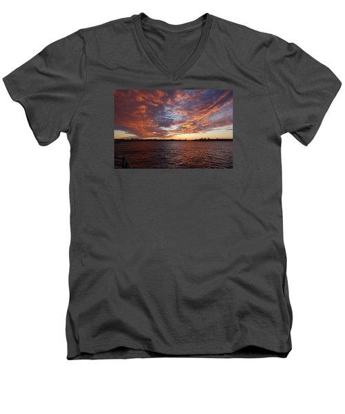 Sunset Over Manasquan Inlet Men's V-Neck T-Shirt by Melinda Saminski