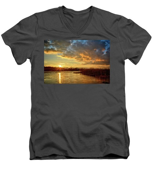 Sunset Over Marsh Men's V-Neck T-Shirt by Bonfire Photography