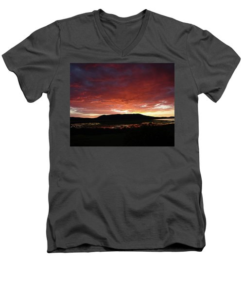 Men's V-Neck T-Shirt featuring the painting Sunset Over Mormon Lake by Dennis Ciscel