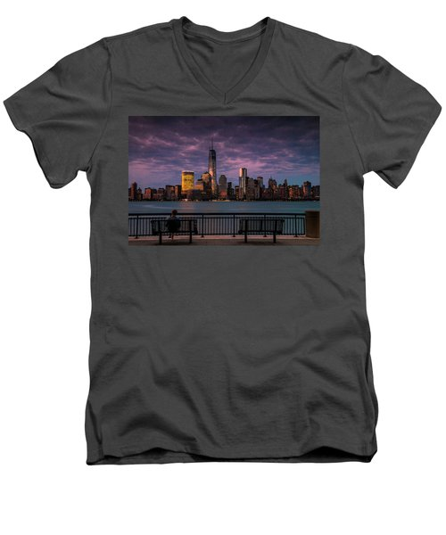 Men's V-Neck T-Shirt featuring the photograph Sunset Over New World Trade Center New York City by Ranjay Mitra