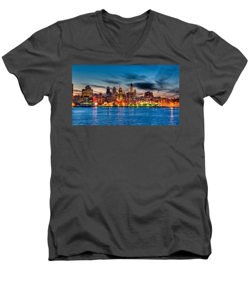 Sunset Over Philadelphia Men's V-Neck T-Shirt
