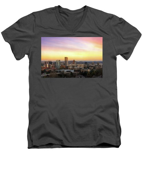 Sunset Over Portland Cityscape And Mt Hood Men's V-Neck T-Shirt