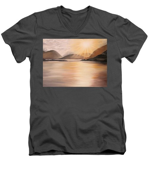 Men's V-Neck T-Shirt featuring the painting Sunset Over Scottish Loch by Elizabeth Lock