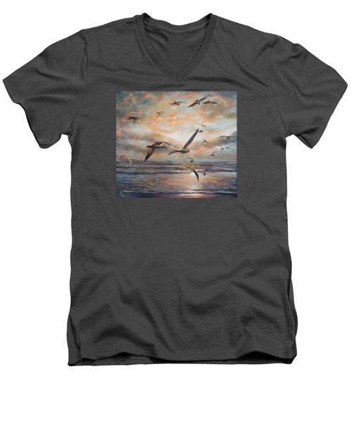 Sunset Over The Sea Men's V-Neck T-Shirt by Vali Irina Ciobanu