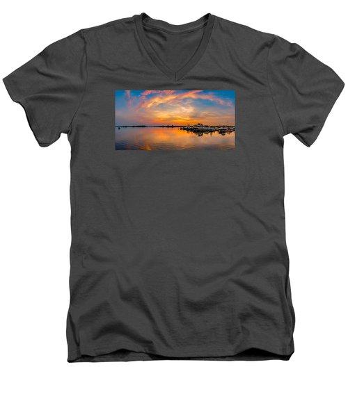 Sunset Over Shrewsbury Bay Men's V-Neck T-Shirt