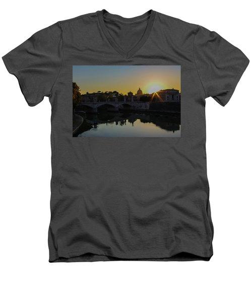 Sunset Over St Peters Men's V-Neck T-Shirt