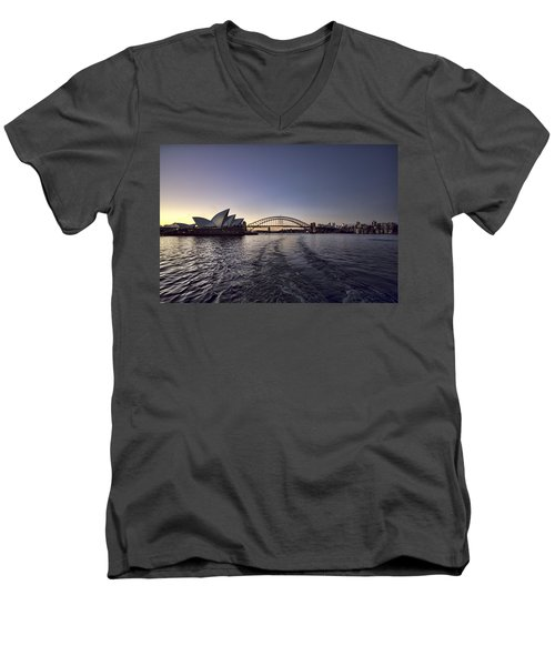Sunset Over Sydney Harbor Bridge And Sydney Opera House Men's V-Neck T-Shirt by Douglas Barnard
