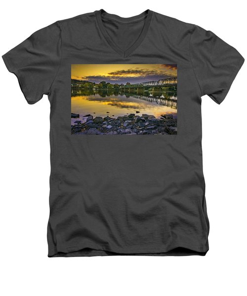 Sunset Over The Bridge Men's V-Neck T-Shirt