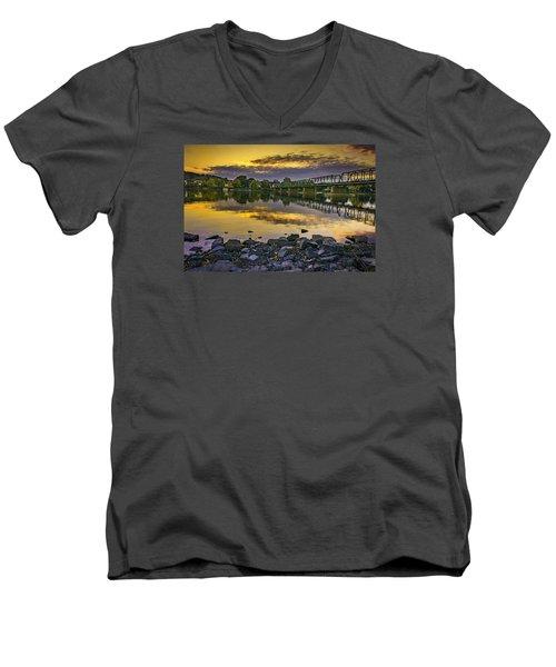 Sunset Over The Bridge Men's V-Neck T-Shirt