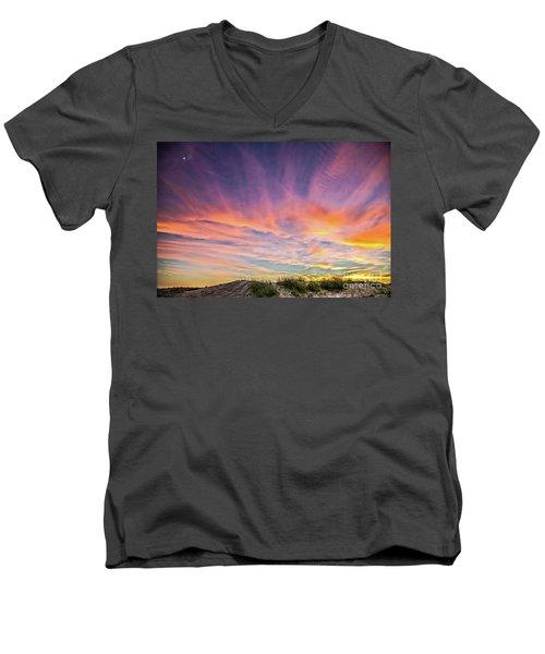 Men's V-Neck T-Shirt featuring the photograph Sunset Over The Dunes by Vivian Krug Cotton