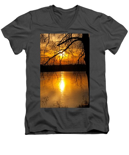 Sunset Over The Lake Men's V-Neck T-Shirt