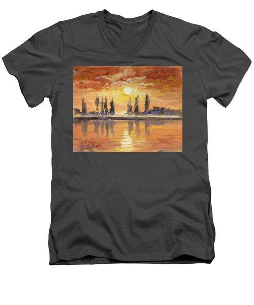 Sunset Over The Lake Men's V-Neck T-Shirt by Irek Szelag