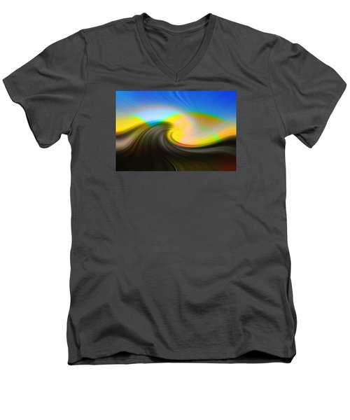 Men's V-Neck T-Shirt featuring the photograph Sunset Over The Lake by Lewis Mann
