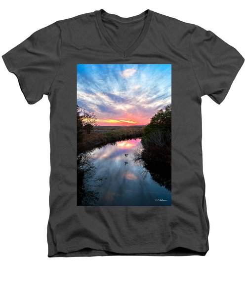 Sunset Over The Marsh Men's V-Neck T-Shirt