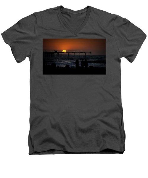 Sunset Over The Pier Men's V-Neck T-Shirt