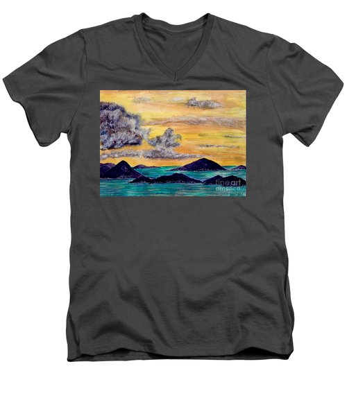 Sunset Over The Virgin Islands Men's V-Neck T-Shirt