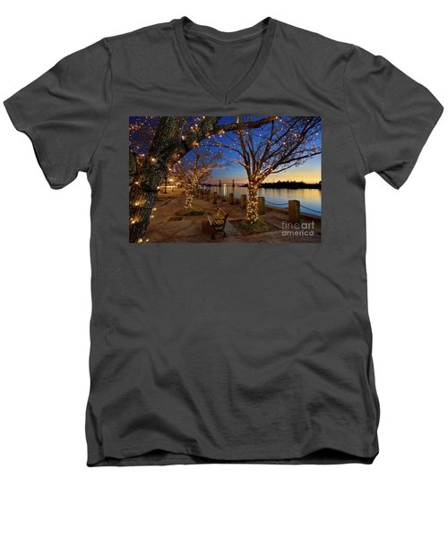 Sunset Over The Wilmington Waterfront In North Carolina, Usa Men's V-Neck T-Shirt