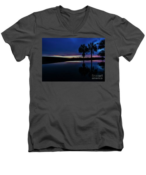 Men's V-Neck T-Shirt featuring the photograph Sunset Palms by Brian Jones