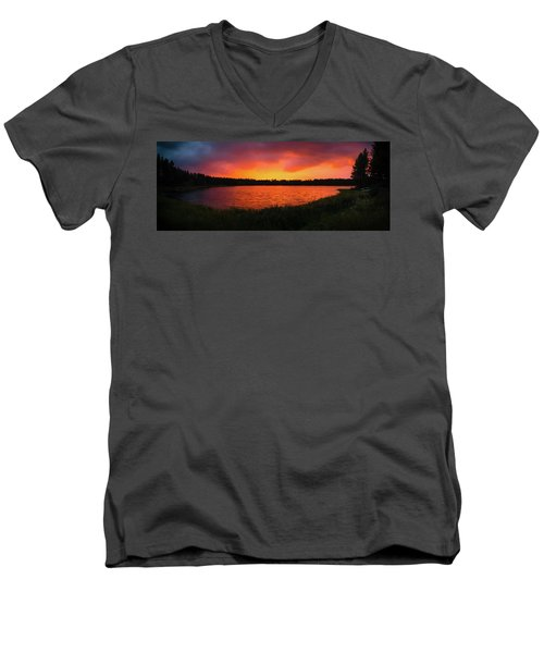 Sunset Panorama Men's V-Neck T-Shirt by Teemu Tretjakov