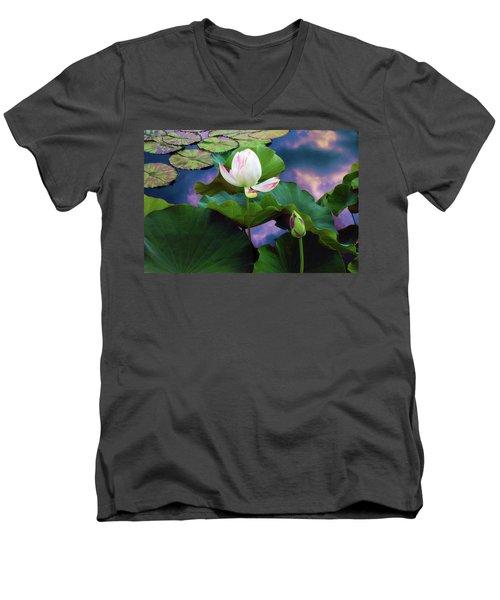 Sunset Pond Lotus Men's V-Neck T-Shirt