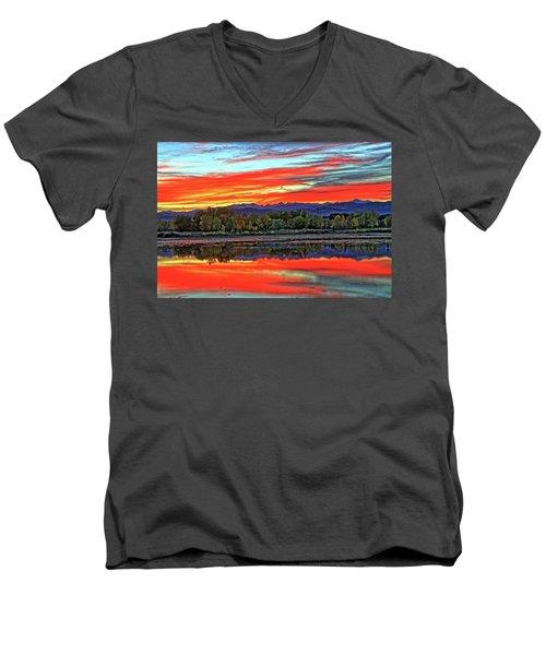 Men's V-Neck T-Shirt featuring the photograph Sunset Ponds by Scott Mahon