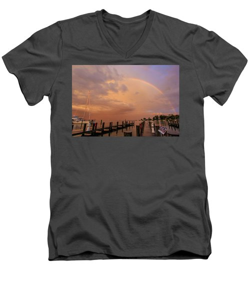Men's V-Neck T-Shirt featuring the photograph Sunset Rainbow by Jennifer Casey