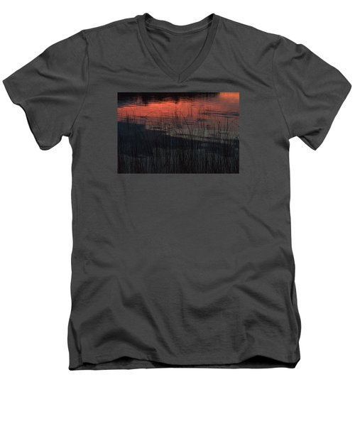 Sunset Reeds Men's V-Neck T-Shirt by Gary Eason