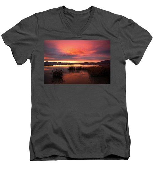 Sunset Reeds On Utah Lake Men's V-Neck T-Shirt