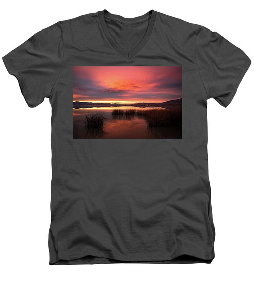 Men's V-Neck T-Shirt featuring the photograph Sunset Reeds On Utah Lake by Wesley Aston
