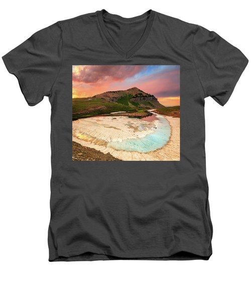 Sunset Reflection At Emerald Lake. Men's V-Neck T-Shirt