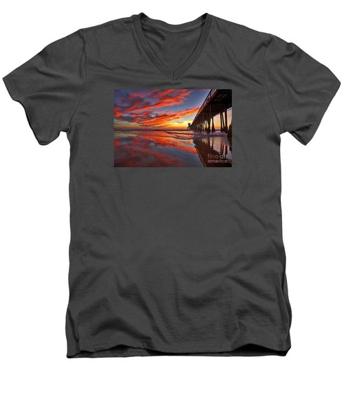 Sunset Reflections At The Imperial Beach Pier Men's V-Neck T-Shirt by Sam Antonio Photography