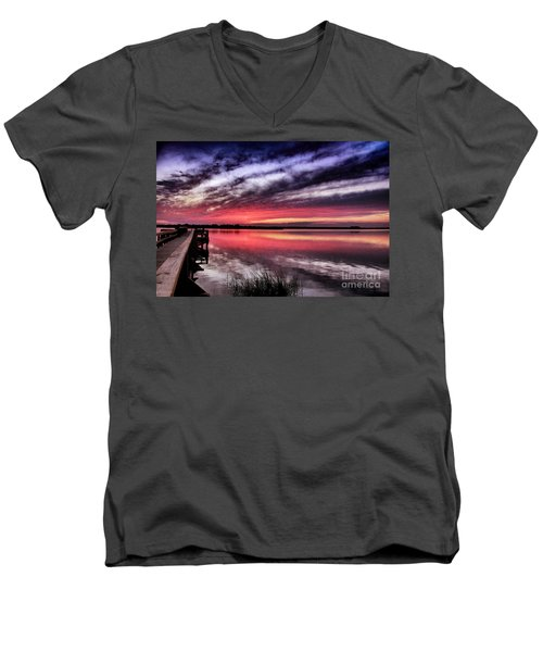Men's V-Neck T-Shirt featuring the photograph Sunset Reflections by Phil Mancuso