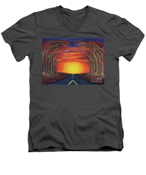 Treetop Sunset River Sail Men's V-Neck T-Shirt
