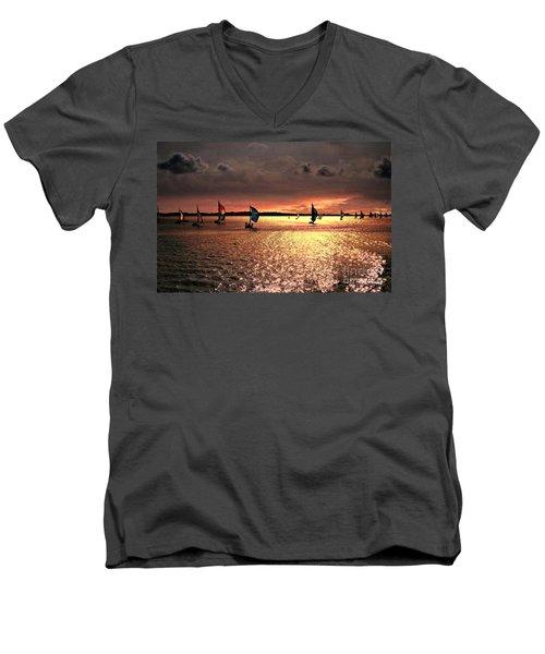 Sunset Sail - Bermuda Men's V-Neck T-Shirt by Judy Palkimas