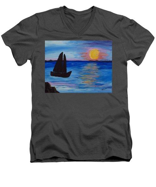Sunset Sail Dark Men's V-Neck T-Shirt by Barbara McDevitt