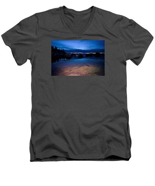 Sunset Sand Ripples Men's V-Neck T-Shirt by Sean Sarsfield