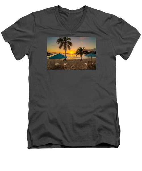 Sunset Secret Harbor Men's V-Neck T-Shirt