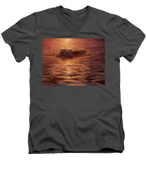 Men's V-Neck T-Shirt featuring the painting Sunset Snuggle - Sea Otters Floating With Kelp At Dusk by Karen Whitworth
