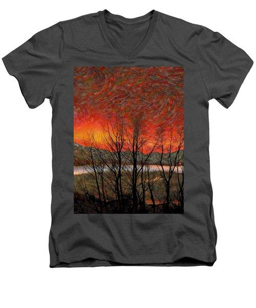 Sunset Soliloquy Men's V-Neck T-Shirt by Ed Hall