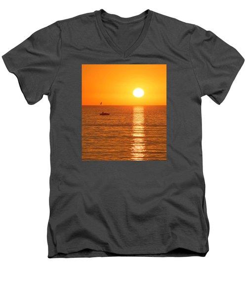 Sunset Solitude Men's V-Neck T-Shirt by Ed Clark