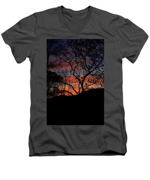 Sunset Men's V-Neck T-Shirt by Tammy Schneider