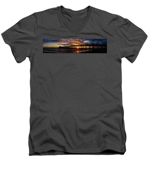 Men's V-Neck T-Shirt featuring the photograph Sunset  by Thanh Thuy Nguyen