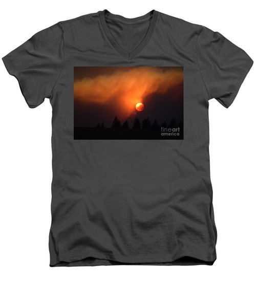Sunset Through Smoke Men's V-Neck T-Shirt