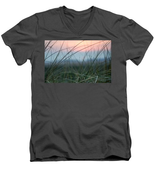 Sunset  Through The Marsh Grass Men's V-Neck T-Shirt by Spikey Mouse Photography