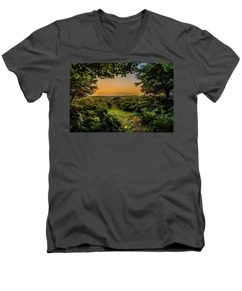Men's V-Neck T-Shirt featuring the photograph Sunset Through Trees by Nick Bywater