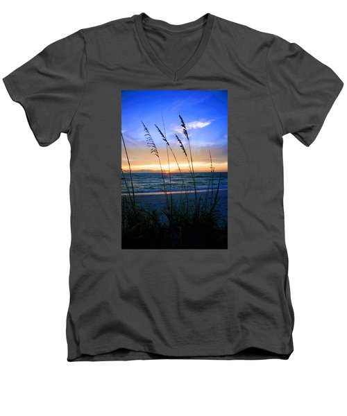 Men's V-Neck T-Shirt featuring the photograph Sunset Thru The Sea Oats At Delnor Wiggins by Robb Stan